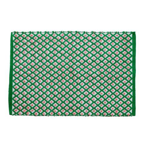 Rice Teppich Green Harlequin handgemacht 60 x 90 cm