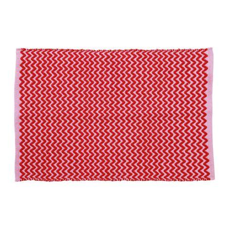 Rice Teppich Red and Pink Zig Zag handgemacht 60 x 90 cm