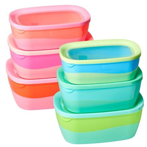 Rice Aufbewahrungsdose Blau/Grün und Pink/Orange 3er-Set