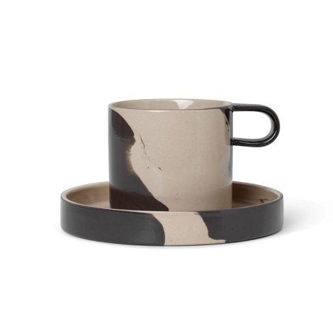 ferm LIVING Tasse mit Unterteller Inlay Sand/Black