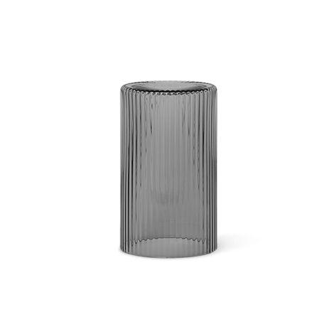 ferm LIVING Glas/Deckel Karaffe Ripple Smoked Grey