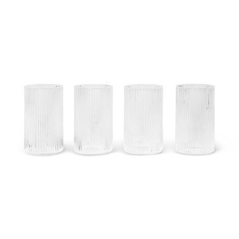 ferm LIVING Kleines Glas Ripple Verrines Clear 4er-Set