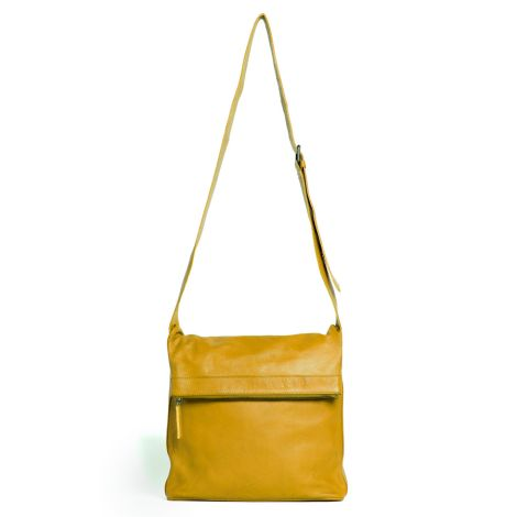 Sticks and Stones Ledertasche Flap Bag Yellow Washed