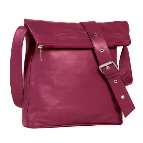 Sticks and Stones Ledertasche Flap Bag Fuchsia •