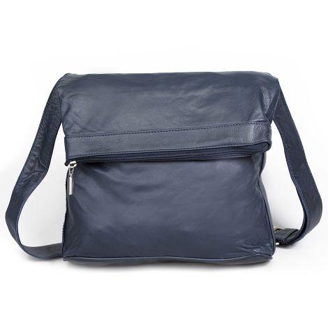 Sticks and Stones Ledertasche Flap Bag Navy Blue