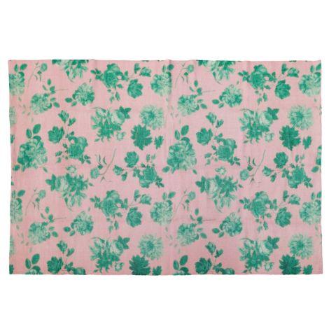 Rice Teppich Pink Green Rose handgemacht 150 x 220 cm