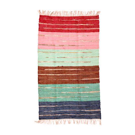 Rice Teppich Multicolored mit Gold Details Streifen