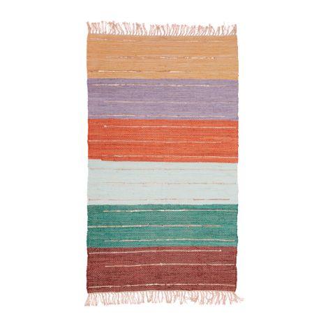 Rice Teppichläufer Baumwolle Multicolor mit goldenen Details