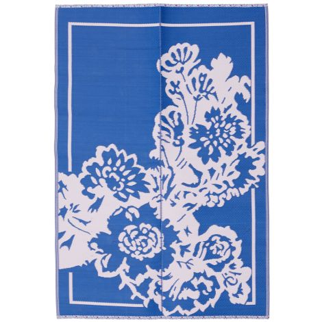 Rice Teppich Kunststoff Big Flower Blue/Soft Pink L •