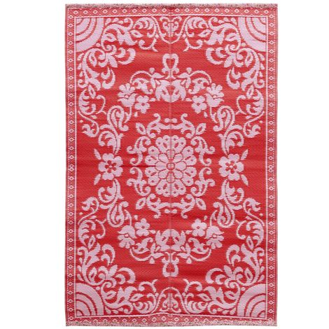 Rice Teppich Kunststoff Circle Flower Pink/Red M