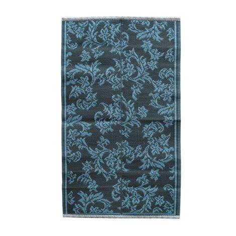 Rice Teppich Kunststoff Flower Dark Grey/Dusty Blue S