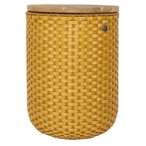 Handed By Beistelltisch mit Aufbewahrung Halo mit Akazien Holzplatte Ochre Yellow
