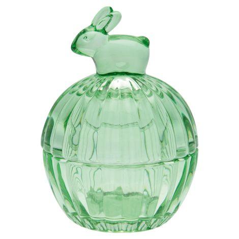 GreenGate Glasdose mit Deckel Rabbit green