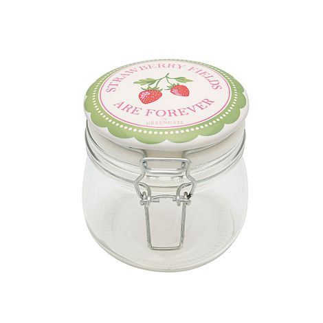 GreenGate Aufbewahrungsglas Strawberry Pale Green 0,5L