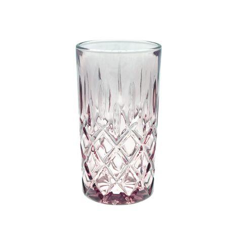 GreenGate Wasserglas Plum Rautenmuster Large