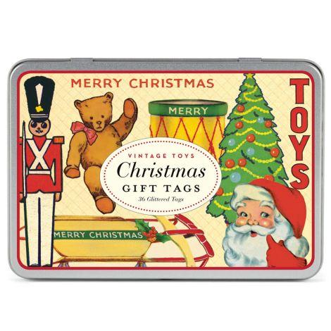 Cavallini Geschenkanhänger Christmas Toy Glitter •