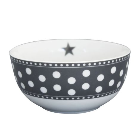 Krasilnikoff Schüssel Happy Bowl Dot Charcoal