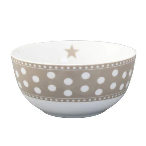 Krasilnikoff Schüssel Happy Bowl Dot Taupe