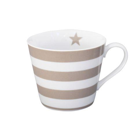 Krasilnikoff Happy Cup Tasse Stripes Taupe
