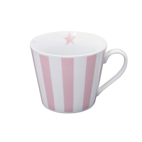 Krasilnikoff Happy Cup Tasse Vertical Stripes Pink •