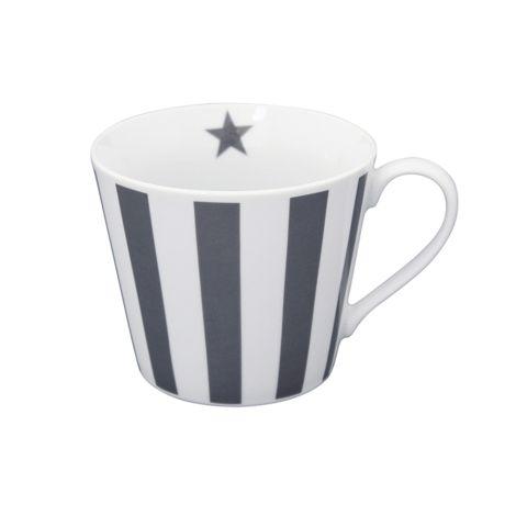 Krasilnikoff Happy Cup Tasse Vertical Stripes Charcoal