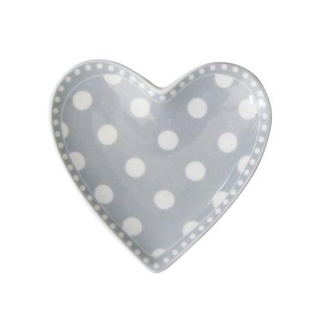 Krasilnikoff Teller Herz Dots Grey