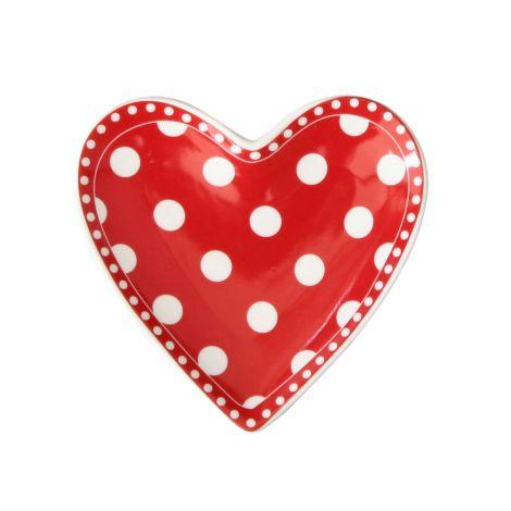 Krasilnikoff Teller Herz Dots Red