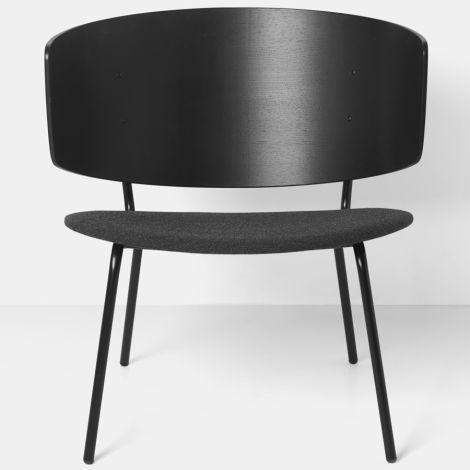 ferm LIVING Stuhl Herman Lounge Chair mit Polster Black/Dark Grey