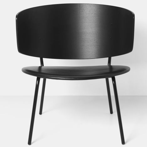 ferm LIVING Stuhl Herman Lounge Chair Black Seat/Leather