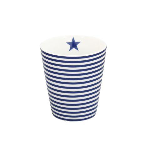 Krasilnikoff Happy Mug Becher Thin Stripes Dark Blue