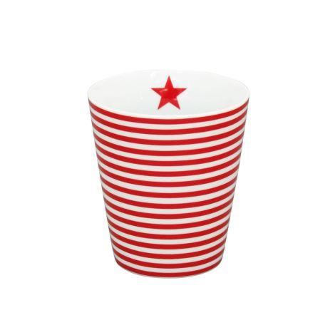 Krasilnikoff Happy Mug Becher Thin Stripes Red