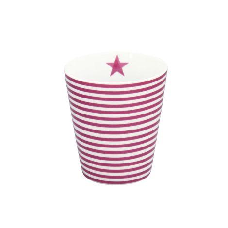 Krasilnikoff Happy Mug Becher Thin Stripes Plum