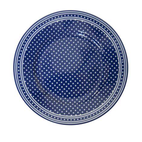 Krasilnikoff Teller Micro Dots Dark Blue •