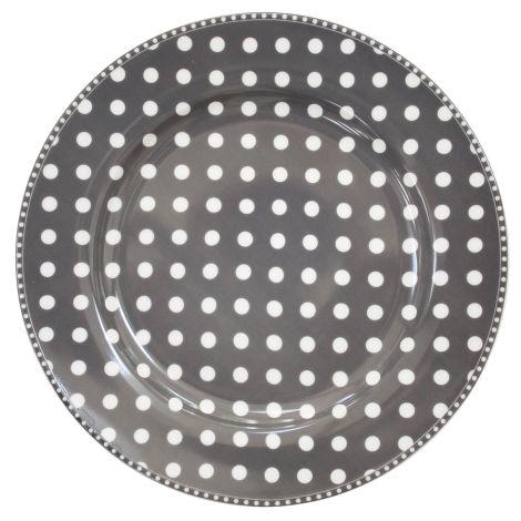 Krasilnikoff Speiseteller Dots Charcoal
