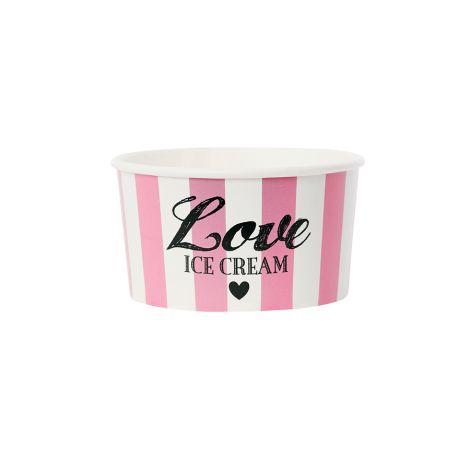 Miss Étoile Eisbecher mit Holzlöffeln Love Pink •