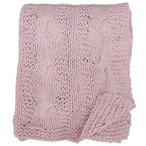 Krasilnikoff Tagesdecke Knitted Pink Candy 130x180 •