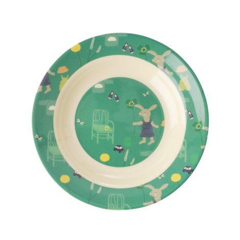 Rice Melamin Kinderschüssel Green Bunny