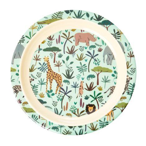 Rice Melamin Teller All Over Jungle Animals Green