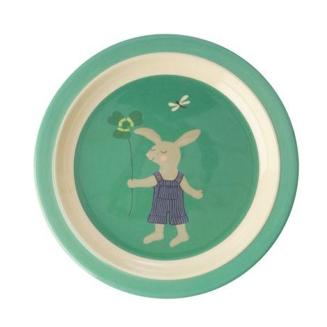 Rice Melamin Kinderteller Green Bunny