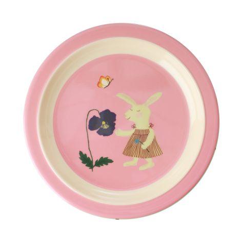 Rice Melamin Kinderteller Pink Bunny