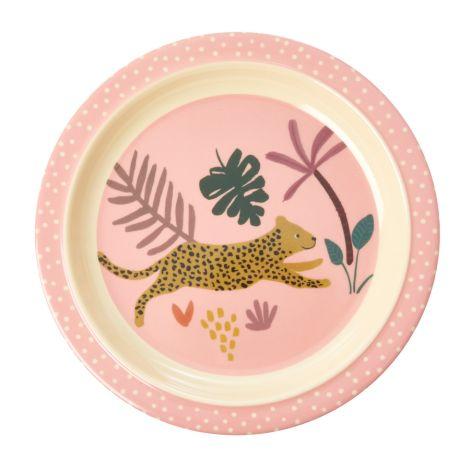 Rice Melamin Teller Kids Pink Jungle Animals