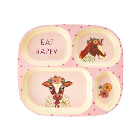 Rice Melamin Menüteller Farm Animals Pink