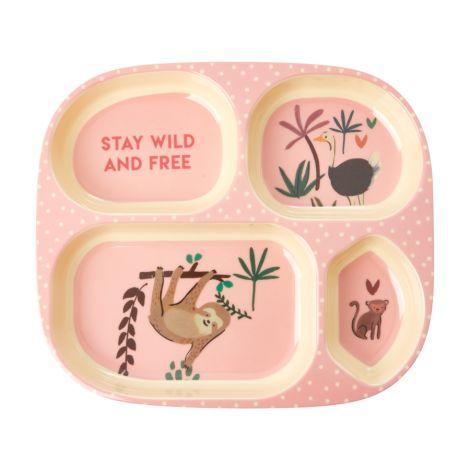 Rice Melamin Menüteller Pink Jungle Animals