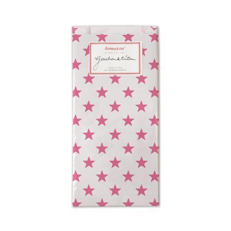 krima & isa Geschenktüten inkl. Etiketten Sterne Pink 6er-Set