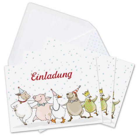 krima & isa Einladungskarten Tierparade 6er-Set