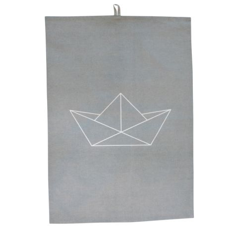 Krasilnikoff Geschirrtuch Paper Boat Grey