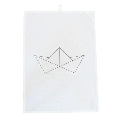 Krasilnikoff Geschirrtuch Paper Boat White •