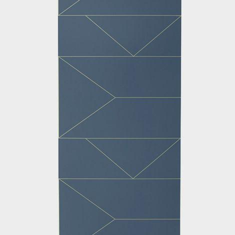 ferm LIVING Tapete Lines Dark Blue