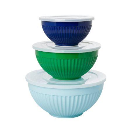 Rice Melamin Schüssel mit Deckel Favorite Blue and Green Colors 3er-Set