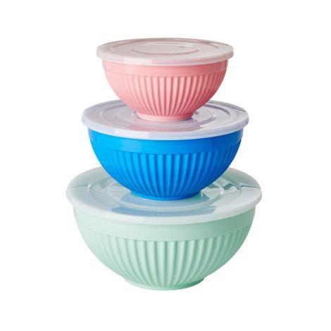 Rice Melamin Schüssel mit Deckel Sage Green, Ocean Blue, Flamingo Pink 3er-Set